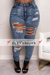 "Plus Size ""Rude Girl"" Ripped High Waist Denim Jeans - Blue"