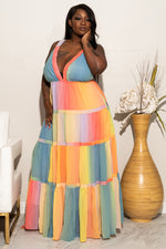 "Plus Size ""Hello Spring"" Maxi Dress - Blue Pastel"