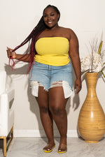 Plus Size Ribbed Tube Top - Yellow