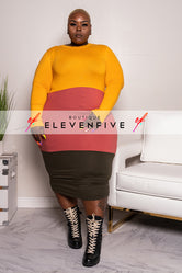 "Plus Size ""Alter Ego"" Colorblock Midi Dress - Olive Mauve Mustard"