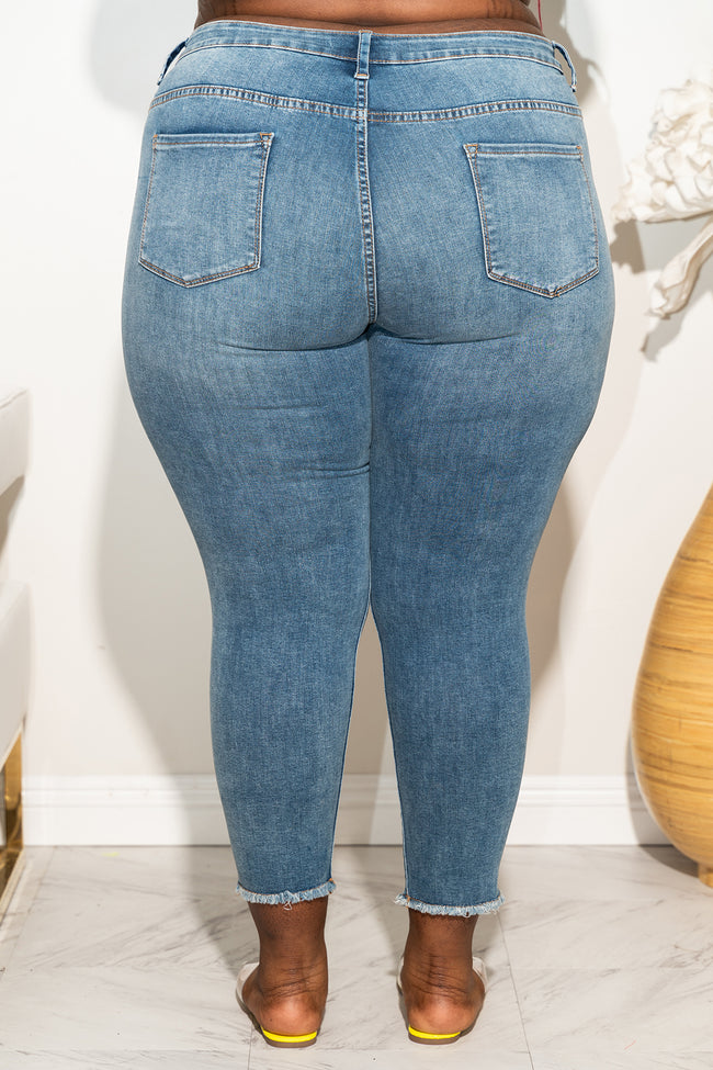 "Plus Size ""Answer My Call"" Ripped Jeans - Medium Blue Denim 1037p"