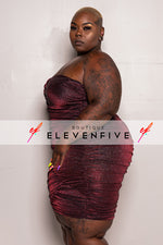 "Plus Size ""Pop A Bottle"" Sequin Glitter Tube Dress - Burgundy"