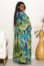 "Plus Size ""Thinking Of Miami"" Maxi Crop Top - Multi Green Blue"