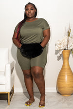 "Plus Size ""Cuffed"" Short Set -  Olive"