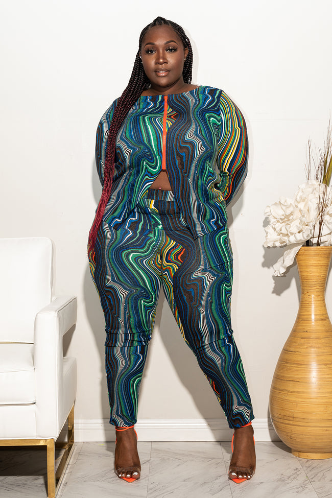 "Plus Size ""Frantic"" Pant Set - Blue Orange Multi"