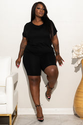 "Plus Size ""Cuffed"" Short Set -  Black"