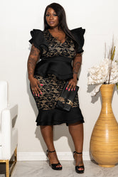 "Plus Size ""Sweet Lady"" Lacey Covered Peplum Dress - Black Nude"