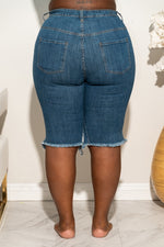 "Plus Size ""Cuttin Up"" Ripped Knee Jean Shorts - Denim Blue 4025p"
