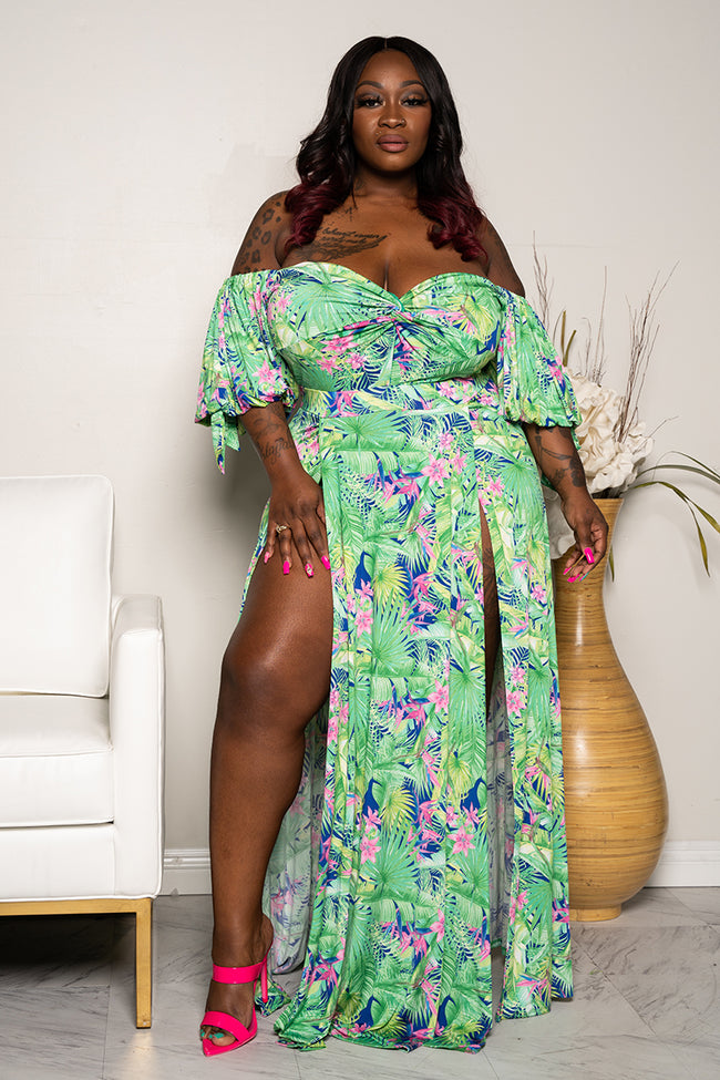 "Plus Size ""When Outside Opens"" Floral Maxi Dress - Green Pink"