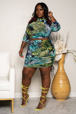 "Plus Size 'Kiss My Palm Trees"" Ruched Set - Multi Green"