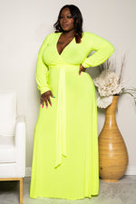 "Pus Size ""Royalty"" Maxi Dress - Neon Yellow"