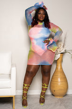 "Plus Size ""A Peace of the Sky"" Fishnet Tie Dye Dress - Multi Pink"