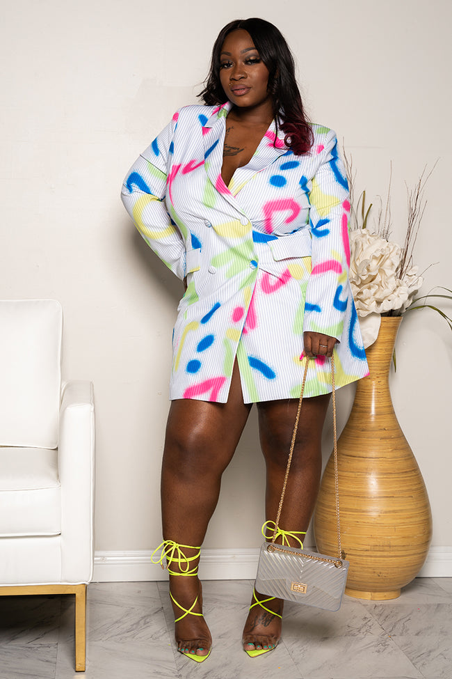 "Plus Size ""In Living Color"" Graffiti Blazer Dress -  White Blue Hot Pink"