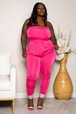 "Plus Size ""Tokyo"" Slinky Strapless Ruched Jumpsuit - Hot Pink"