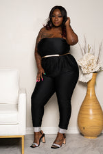 "Plus Size ""Tokyo"" Slinky Strapless Ruched Jumpsuit - Black"