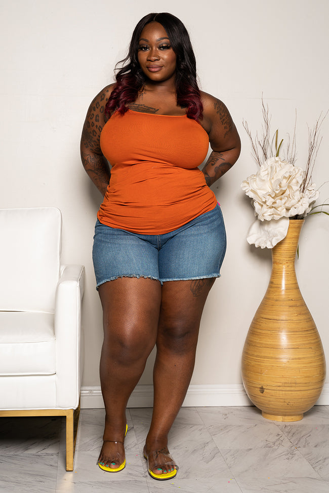 Plus Size Basic Cami Tank Top - Rust