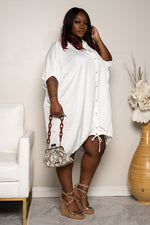 "Plus Size ""Pinky Promise"" Oversized Balloon Shirt Dress - White"
