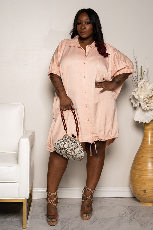 "Plus Size ""Pinky Promise"" Oversized Balloon Shirt Dress - Salmon Pink"