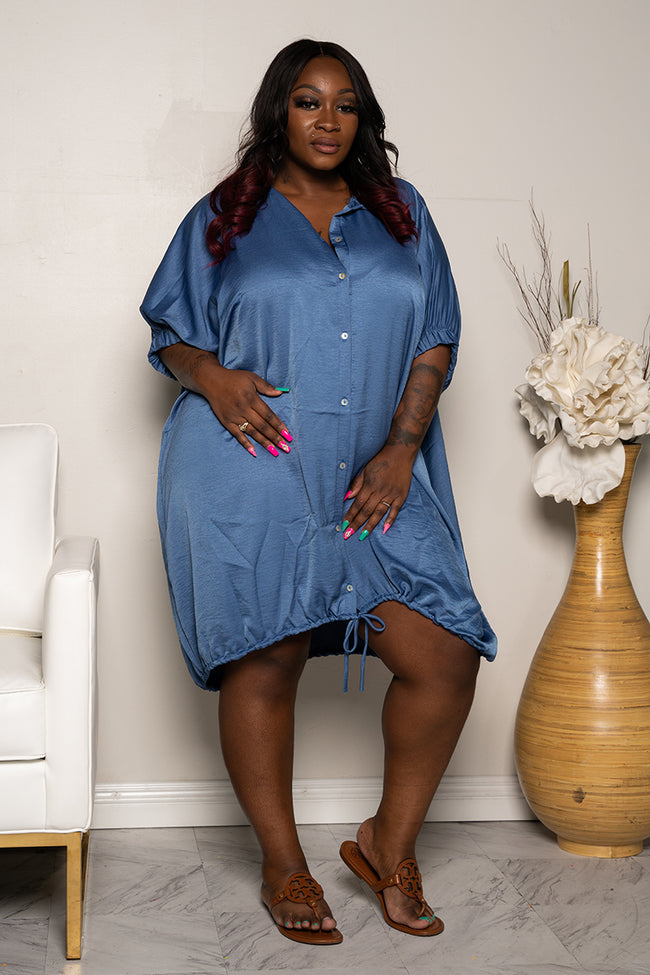 "Plus Size ""Pinky Promise"" Oversized Balloon Shirt Dress - Blue"