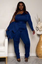 "Plus Size ""Social Butterfly"" One Shoulder Petal Jumpsuit - Dark Royal Blue"