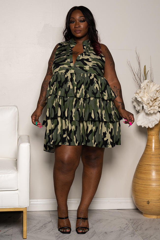 "Plus Size ""I Need a Soldier"" Camouflage Layered baby Doll Dress - Army Green"