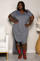 "Plus Size ""Sunday Afternoon"" Shirt Dress Maxi - Heather Gray"