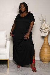 "Plus Size ""Sunday Afternoon"" Shirt Dress Maxi - Black"