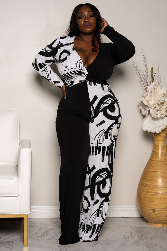 "Plus Size ""2 Can Play That Game"" Jumpsuit - Black White"
