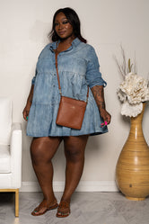 "Plus Size ""Oh Baby"" BabyDoll Jean Dress - Medium Denim Blue"