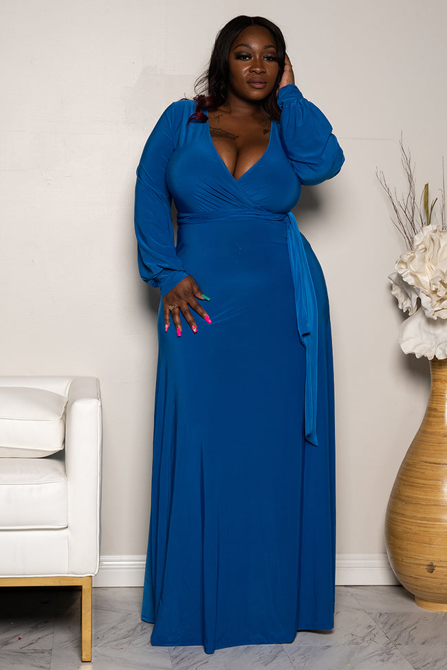 "Pus Size ""Royalty"" Maxi Dress - Royal Blue"