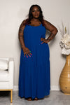 "Plus Size ""Give Me a Reason"" Chiffon Maxi Dress - Royal Blue"