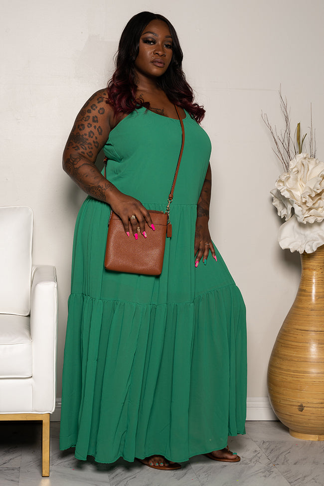 "Plus Size ""Give Me a Reason"" Chiffon Maxi Dress - Green"