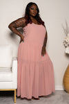 "Plus Size ""Give Me a Reason"" Chiffon Maxi Dress - Mauve"