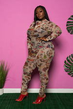"Plus Size ""Tatted"" Mesh Jumpsuit - Nude Multi"