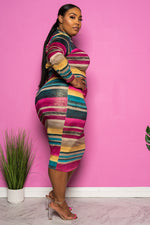 "Plus Size ""Colorful Blessings""  Midi Dress - Multi Green"