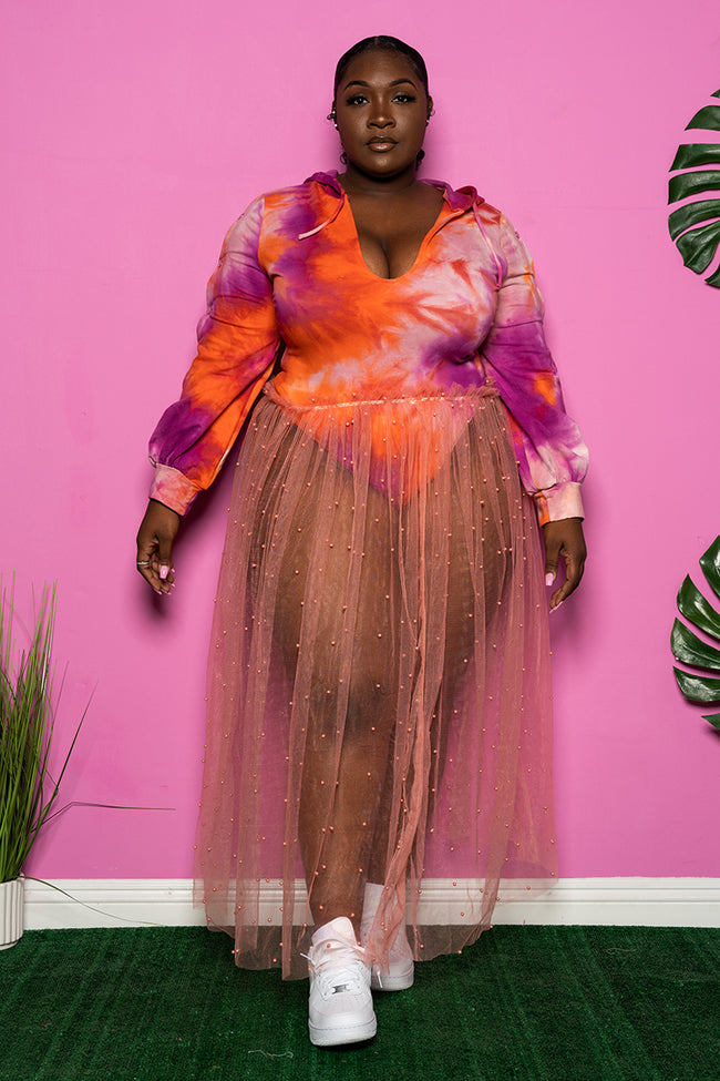 "Plus Size ""She Knows"" Pearl Mesh Skirt - Peach"