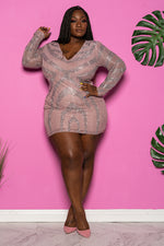 "Plus Size ""Party Gyrl"" Rhinestone Mini Dress - Mauve Blush"