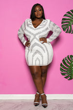 "Plus Size ""Party Gyrl"" Rhinestone Mini Dress - Ivory"