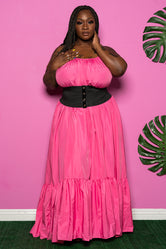 "Plus Size ""Overflow"" Maxi Dress - Pink"