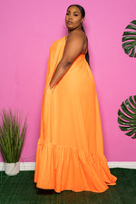 "Plus Size ""Overflow"" Maxi Dress - Neon Orange"