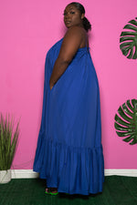 "Plus Size ""Overflow"" Maxi Dress - Royal Blue"