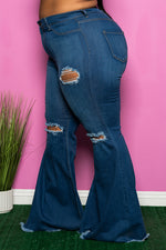 "Plus Size ""Ginger"" Destroyed Bell Bottom Jeans - Medium Denim Blue"