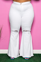 "Plus Size ""Raimie"" High Waist Bell Bottom Destroyed Denim Jeans - White"