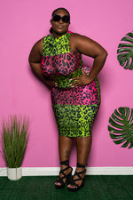 "Plus Size ""Ms Parker"" Color Block Leopard Bodycon Midi Dress - Lime Fuchsia"