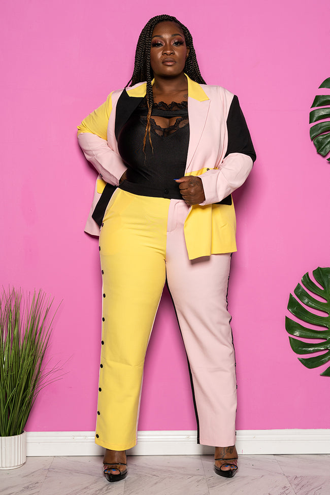 "Plus Size ""Covergirl"" Colorblock Pant Suit - Pink Yellow Black"
