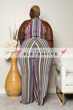 "Plus Size ""Jump To It "" Halter Wide Leg Stripe Jumpsuit - Lavender Gray"