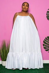 "Plus Size ""Overflow"" Maxi Dress - White"