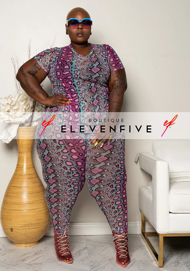 "Plus Size ""Showing Her True Colors"" Snakeskin Mesh Pant Set - Purple Blue"