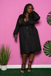 "Plus Size ""Independent"" Belted Shirt Dress - Black"