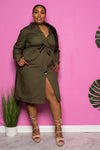 "Plus Size ""Independent"" Belted Shirt Dress - Olive"